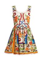 Dolce & Gabbana Majolica-print Scoop-neck Cotton-poplin Dress