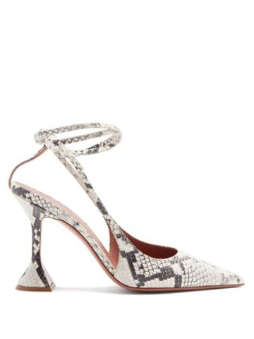 Matchesfashion.com Amina Muaddi - Karma Snake-print Leather Pumps - Womens - Python