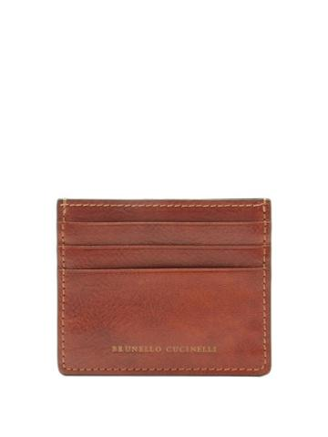 Matchesfashion.com Brunello Cucinelli - Stamped-logo Leather Cardholder - Mens - Brown