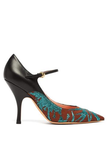 Matchesfashion.com Rochas - Brocade Leather And Canvas Mary Jane Pumps - Womens - Green Multi