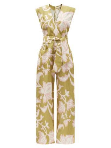 Matchesfashion.com Cala De La Cruz - Madeline Floral-print Linen Wide-leg Jumpsuit - Womens - Green Multi