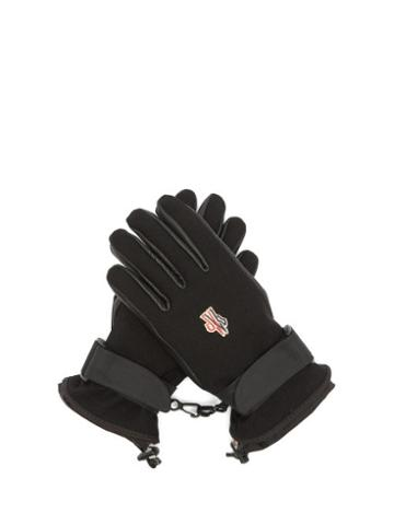 Matchesfashion.com Moncler Grenoble - Logo Patch Twill And Leather Ski Gloves - Womens - Black