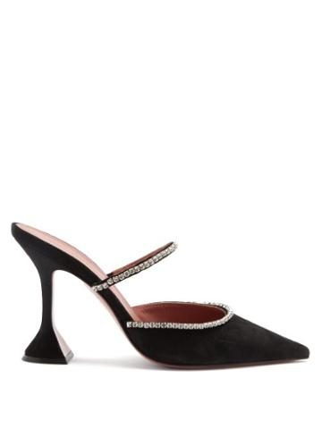 Matchesfashion.com Amina Muaddi - Gilda Crystal-embellished Suede Mules - Womens - Black