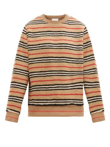Matchesfashion.com Burberry - Edson Icon Striped Fleece Sweater - Mens - Beige Multi