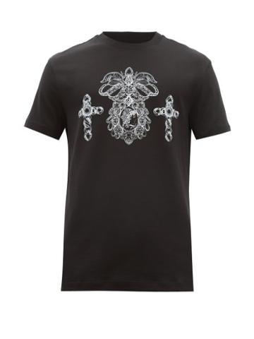 Matchesfashion.com Versace - Crest Print Cotton Jersey T Shirt - Mens - Black