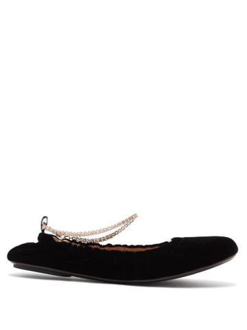 Matchesfashion.com Gianvito Rossi - Crystal-embellished Anklet-chain Velvet Pumps - Womens - Black