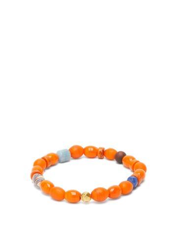 Matchesfashion.com Musa By Bobbie - Aquamarine, Tiger's Eye & 18kt Gold Bead Bracelet - Womens - Orange