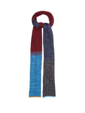 Matchesfashion.com Missoni - Colour-block Rib-knitted Scarf - Womens - Navy Multi