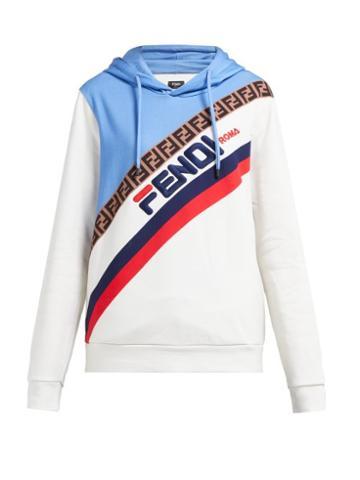 Matchesfashion.com Fendi - Mania Logo Embroidered Hooded Sweatshirt - Womens - Cream Multi