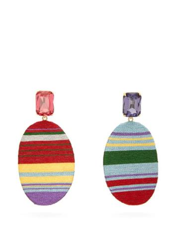 Matchesfashion.com Maryjane Claverol - Georgia Stripe Clip Earrings - Womens - Multi