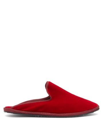 Matchesfashion.com Vibi Venezia - Backless Velvet Furlane Slippers - Womens - Dark Red