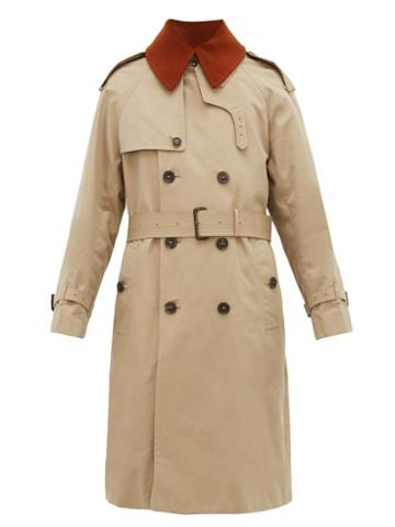 Matchesfashion.com Mackintosh - Corduroy Collar Cotton Gabardine Trench Coat - Mens - Beige