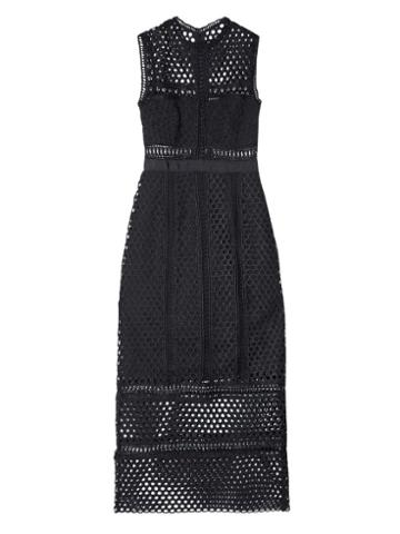 Self-portrait Panelled Sleeveless Lace Midi Dress