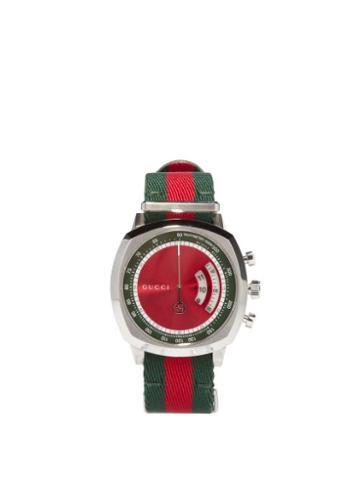 Matchesfashion.com Gucci - Grip Web-striped Tachymeter Watch - Mens - Green Red