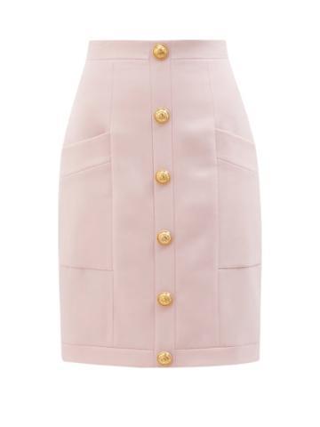Balmain - High-rise Buttoned Wool Skirt - Womens - Pink