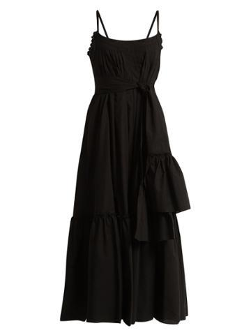 Three Graces London Ariadne Pintucked Cotton-poplin Dress