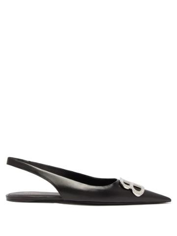 Matchesfashion.com Balenciaga - Bb Knife Slingback Crystal & Leather Flats - Womens - Black