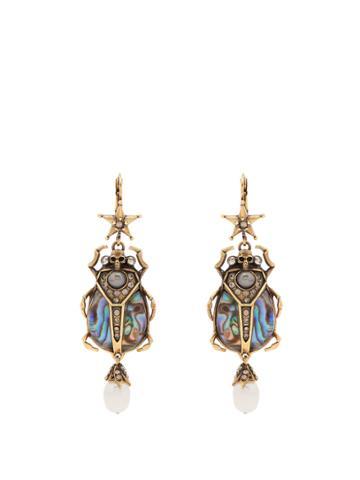 Alexander Mcqueen Embellished Beetle-drop Abalone Earrings