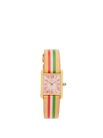 Matchesfashion.com La Californienne - Vintage Cartier Tank 18kt Gold-plated Watch - Womens - Green Red