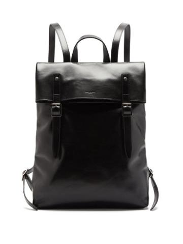 Matchesfashion.com Saint Laurent - Foldover Leather Backpack - Mens - Black