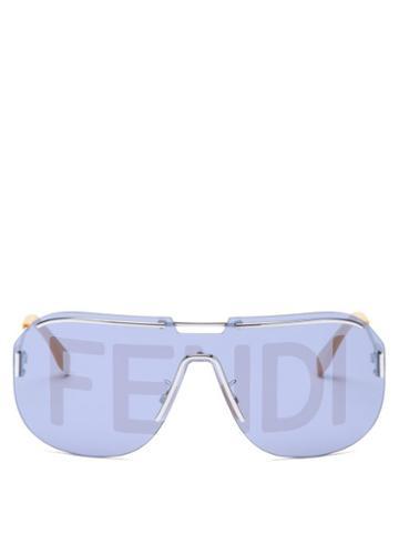 Matchesfashion.com Fendi - Logo-print Aviator Metal Sunglasses - Mens - Silver