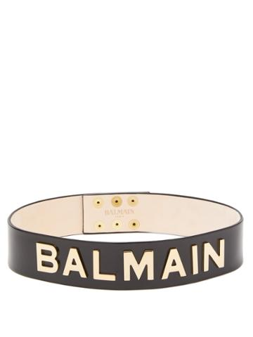 Balmain Logo Leather Belt
