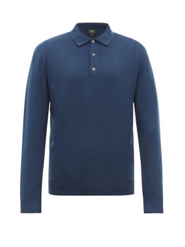 Matchesfashion.com A.p.c. - Harold Long Sleeve Polo Shirt - Mens - Blue