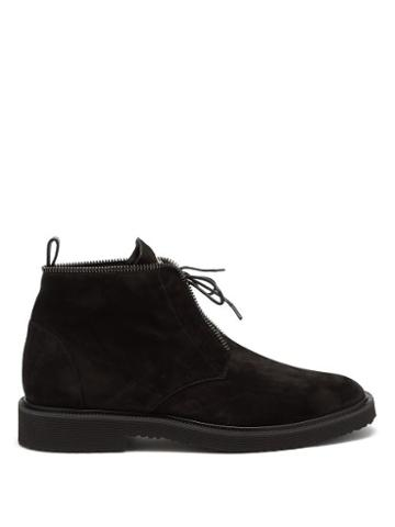 Matchesfashion.com Giuseppe Zanotti - Suede Lace Up Boots - Mens - Black