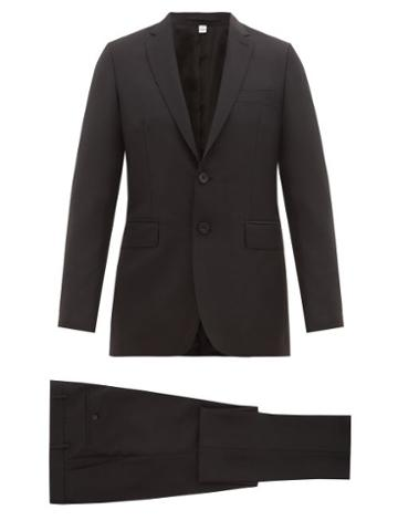 Matchesfashion.com Burberry - Single Breasted Wool Blend Crpe Suit - Mens - Black