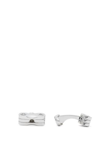 Matchesfashion.com Dunhill - Engraved Grid Sterling Silver Cufflinks - Mens - Silver