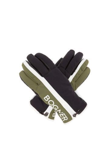Matchesfashion.com Bogner - Feli Logo Print Ski Gloves - Womens - Khaki