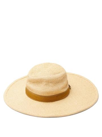 Matchesfashion.com Chlo - Leather-trimmed Woven Hat - Womens - Beige