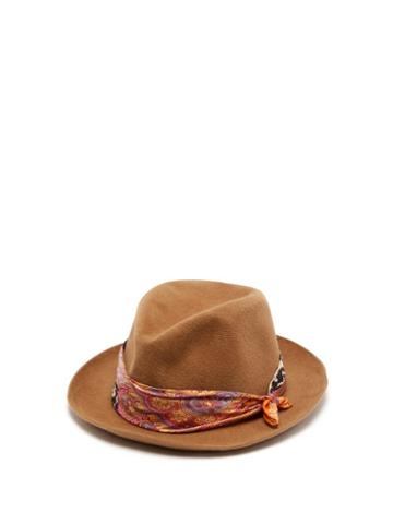 Matchesfashion.com Etro - Scarf Trimmed Hat - Womens - Camel
