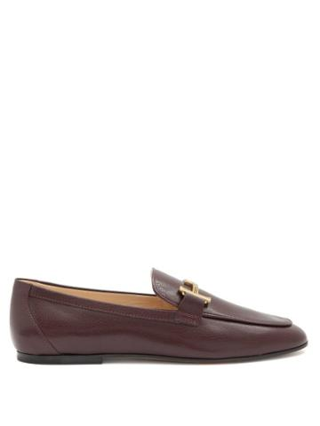 Matchesfashion.com Tod's - Double T-bar Leather Loafers - Womens - Burgundy