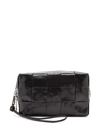 Matchesfashion.com Bottega Veneta - Intrecciato-leather Wash Bag - Mens - Black Silver