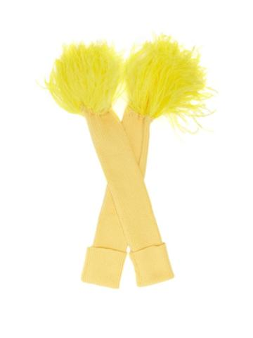 Matchesfashion.com Thebe Magugu - Feather-trimmed Wool-blend Fingerless Gloves - Womens - Yellow