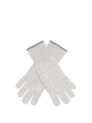 Matchesfashion.com Brunello Cucinelli - Ribbed-cuff Cashmere Gloves - Mens - Grey