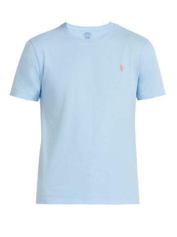 Matchesfashion.com Polo Ralph Lauren - Logo Embroidered Cotton T Shirt - Mens - Light Blue