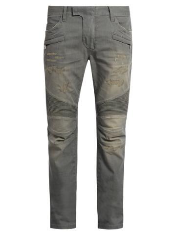 Balmain Distressed Slim-leg Biker Jeans