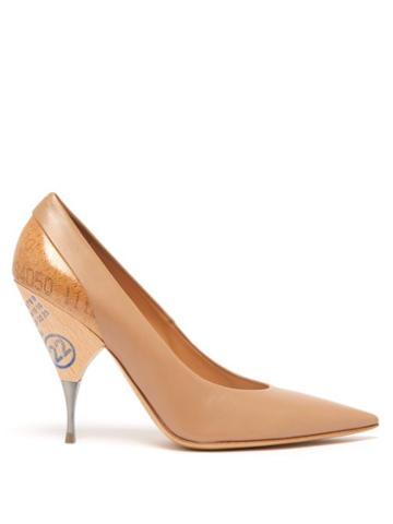 Matchesfashion.com Maison Margiela - Logo Print Cork And Wooden Heel Leather Pumps - Womens - Nude