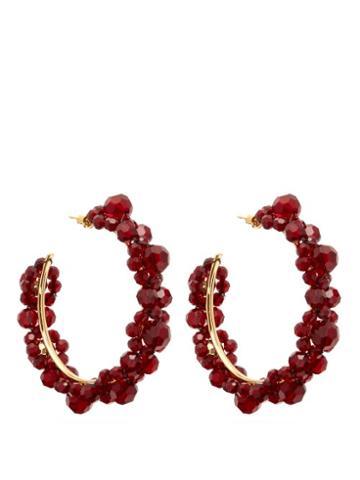 Matchesfashion.com Simone Rocha - Large Crystal Daisy Hoop Earrings - Womens - Burgundy