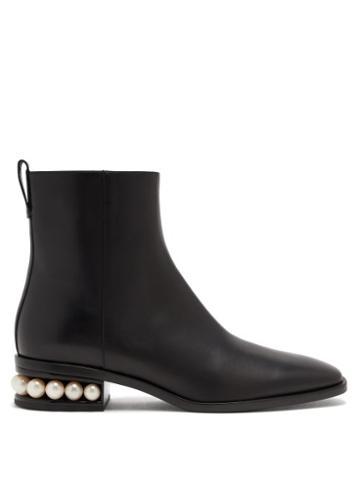 Matchesfashion.com Nicholas Kirkwood - Casati Pearl-heel Leather Ankle Boots - Womens - Black