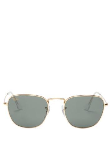 Ray-ban - Frank Polarised Metal Sunglasses - Womens - Green Gold