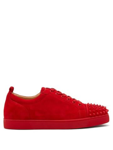 Matchesfashion.com Christian Louboutin - Louis Junior Spike Embellished Suede Trainers - Mens - Red