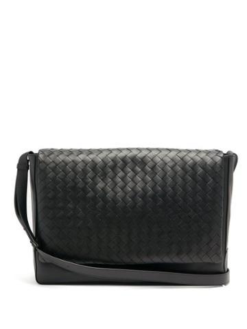 Matchesfashion.com Bottega Veneta - Intrecciato Leather Messenger Bag - Mens - Black