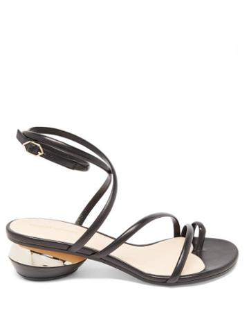 Matchesfashion.com Nicholas Kirkwood - Beya Maxi 45 Geometric-heel Leather Sandals - Womens - Black