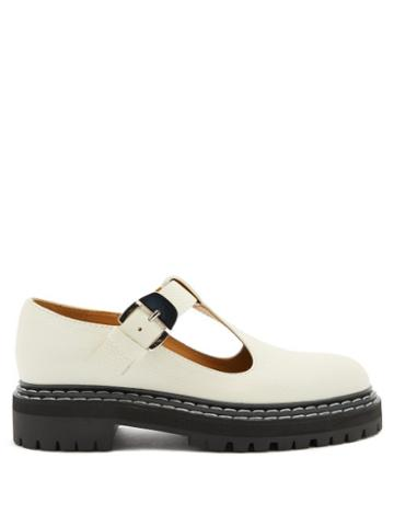 Matchesfashion.com Proenza Schouler - Tread-sole T-bar Leather Loafers - Womens - White