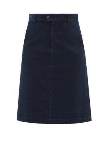 A.p.c. - High-rise Corduroy Skirt - Womens - Navy
