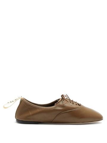 Matchesfashion.com Loewe - Logo-tab Leather Oxford Shoes - Womens - Green