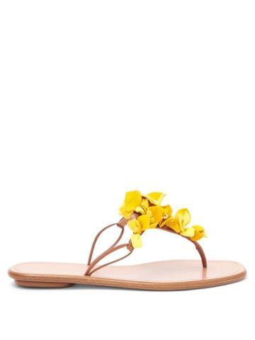 Matchesfashion.com Aquazzura - Bougainvillea Floral-appliqu Leather Flip Flops - Womens - Yellow Multi